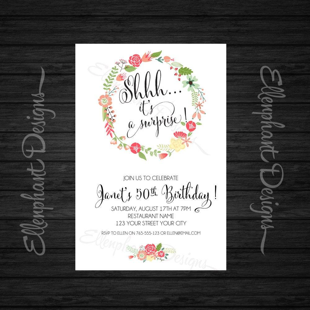 Floral wreath Surprise Birthday Invitation milestone adult | Etsy