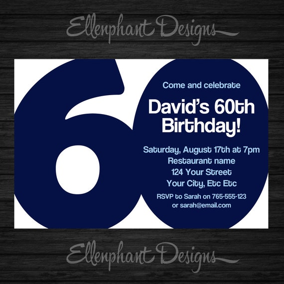 60th Birthday Invitation 60 Adult Sixty Also Suit 30th