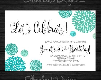 Birthday Invitation, teal turquoise, aqua, handwritten font, adult, 21, 30th, 40th, 50th, 60th, 70th, custom invite, digital file, you print