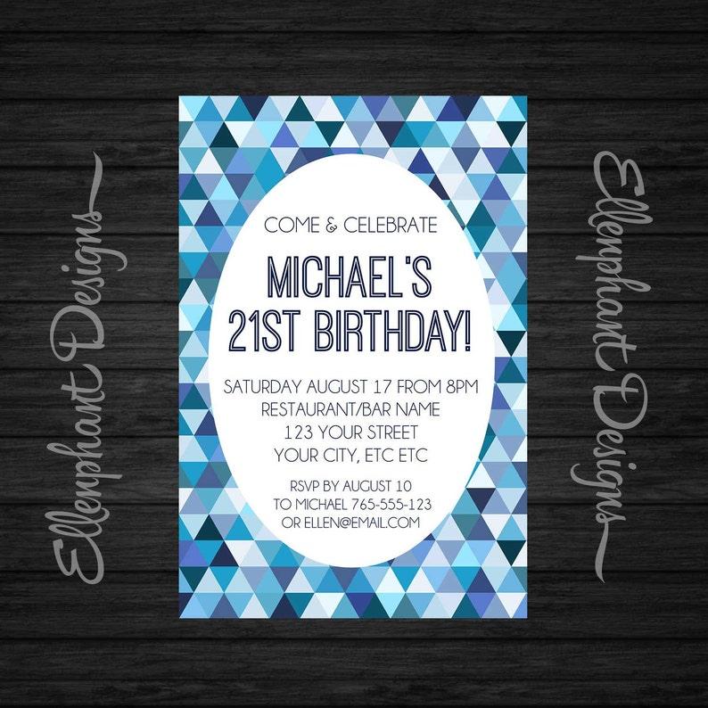 Blue Birthday Invitation Teen 21st 30th 40th Geometric