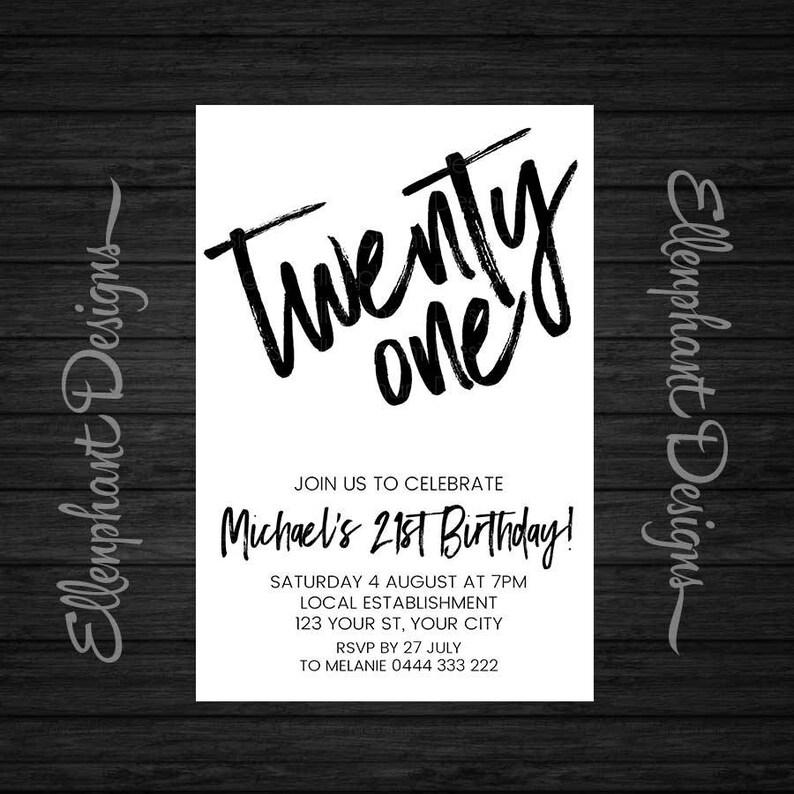21st Birthday Invitation Twenty One First Adult