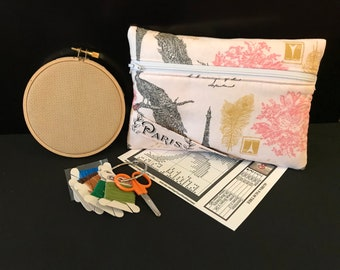 Cross-Stitch Kit with Zippered Organizer, Embroidery Kit, Free Shipping, Paris Fabric Design, Digital Download Included, Great For Travel
