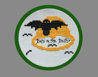 Bats In The Belfry Halloween Cross-Stitch Pattern, Spooky Stitches Needlework, Cute & Fun, Great for Beginners, PDF, Instant Download