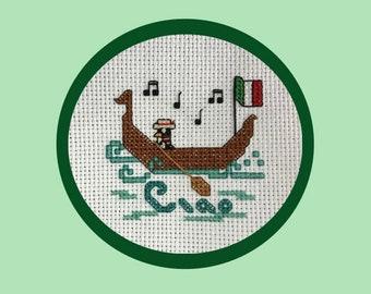 Ciao Italian Penguin Cross-Stitch Pattern, Italy, Gondola, Hello Greeting, Travel, Adventure Awaits, Globetrotter, Gift Idea, PDF Download