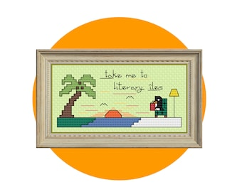 Island Sunset Cross-Stitch Pattern, Penguin Reading Literature in a Comfy Chair, Dreaming of Tropical Island Paradise, PDF Chart Download