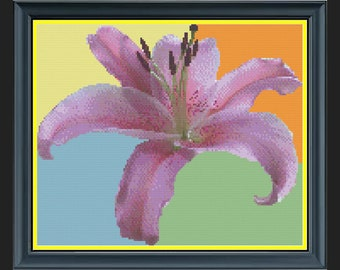'Lucky In Love' Lily Flower Cross-Stitch Chart