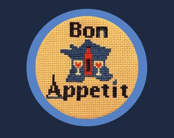 French Cross-Stitch Pattern, Bon Appetit, France, Paris, Wine, Celebration, Eating and Dining, Great for Beginners, PDF, Instant Download