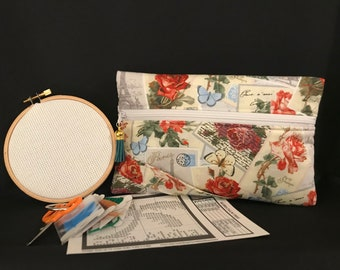 Parisian Style Cross-Stitch Kit, Zippered Organizer w/Thumb Hold, Outer Pocket, Cursive Script Interior, Stylish European Chic Travel Kit