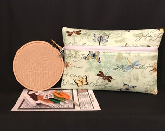 Cross-Stitch Kit with Zippered Organizer, Outer Pocket, Embroidery Kit, Butterflies and Dragonflies Script Design, Great For Travel