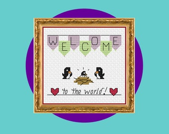 Baby Birth Celebration Small Cross Stitch, Baby Shower Gift, New Baby Girl/Boy, Welcome To The World Little Hatchling, PDF Download
