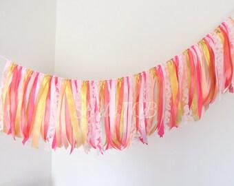 Pink, Fuchsia, Peach and Gold / Fabric Lace Ribbon Garland / Wedding Backdrop / Nursery Decor / Bridal Shower / Baby Shower / Cake Smash