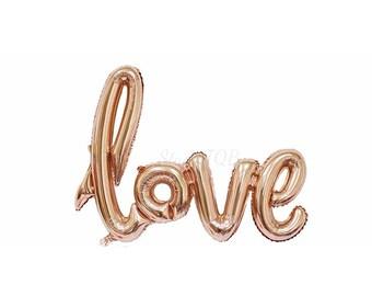 Aime ballon feuille / Or Rose amour Script ballon / ballon Mylar / Party Decor / fiançailles / nuptiale de douche Decor / Decor de mariage