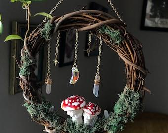 Suncatching Celestial Mossy Mushroom Wreath | Handmade Gifts for Nature Lovers | Botanical Wreath