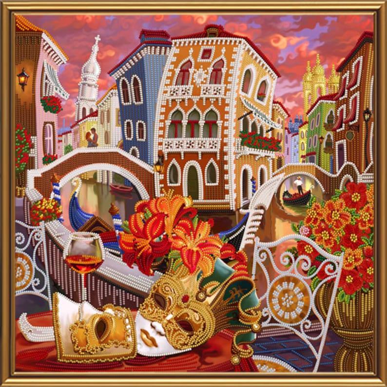 97629b28ee0422 Wenecja przez lustro-haftowane zdjęcie prezent DIY obraz   Etsy