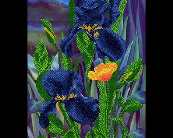 Iris flowers - Beaded DIY Embroidery Kit, Beadwork, DIY kit, Beading on needlepoint kit, Embroidered picture, Crosstich, Beaded picture