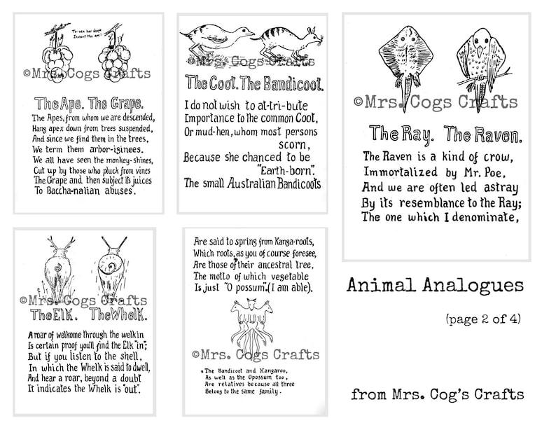 Animal Analogues - Digital Ephemera Classics, Digital Images, Vintage Art,  Instant Download, Digital Collage, Art Ephemera, Book Art