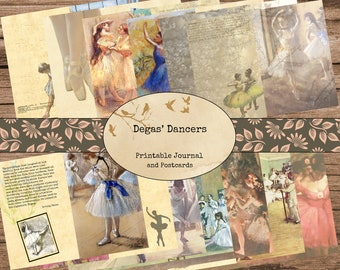 Degas' Dancers Junk Journal Pages - Printable Journal Pages, Digital Journal, Vintage Images, Printable Paper, Dance Journal, Ballet Journal