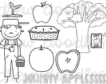 graphic about Johnny Appleseed Printable Story named Johnny appleseed Etsy
