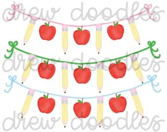 Watercolor Apple and Pencil Banner for Monogram Digital Clip Art Set- Instant Download