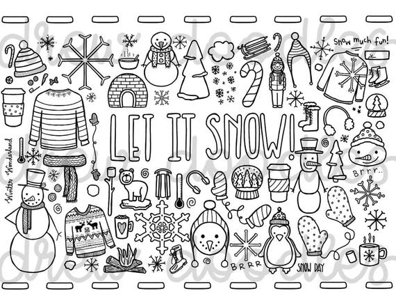 Let It Snow Coloring Page Instant Download Etsy