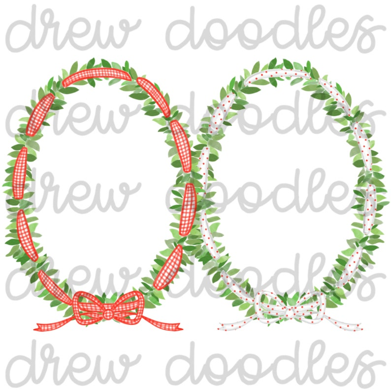 Instant Download Digital Clip Art Set Watercolor Red Gingham and Bitty Dot Ribbon Wreaths