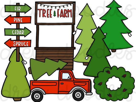 Christmas Tree Farm Digital Clip Art Set Instant Download Etsy See more of quarter pine tree farm on facebook. christmas tree farm digital clip art set instant download