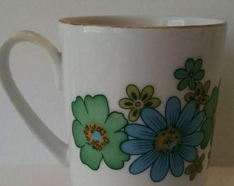 Vintage Japan Coffee Mug Blue Green Flowers Creative