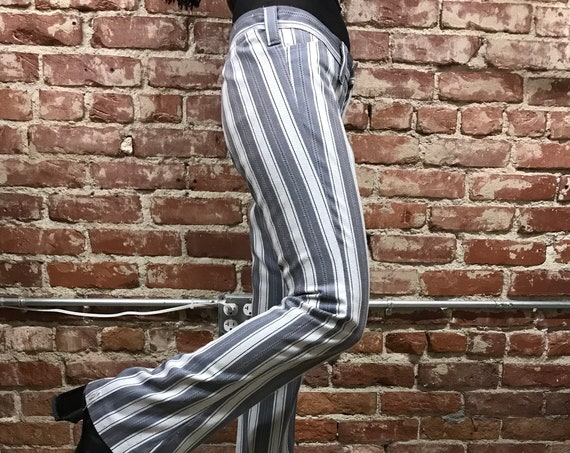 """70s Mod Striped Jeans by Farah 31"""" Hip by 32"""" inseam Vintage Seventies 1970s Hip Huggers"""