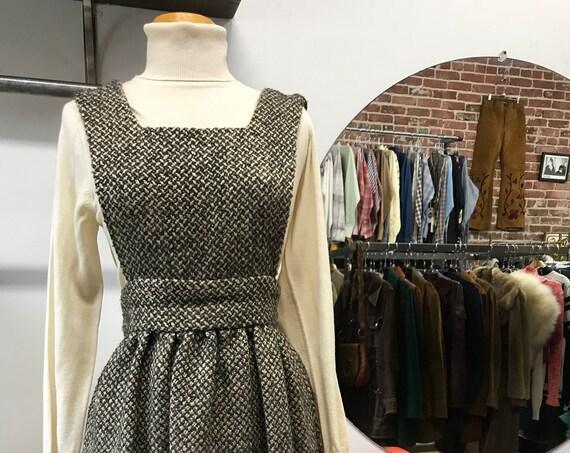 60s Tweed Mod Jumper Pinnafore Mini Dress