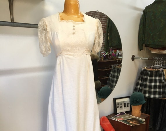 Late Sixties Cotton Ivory Victorian Sheer Sleeve Gown