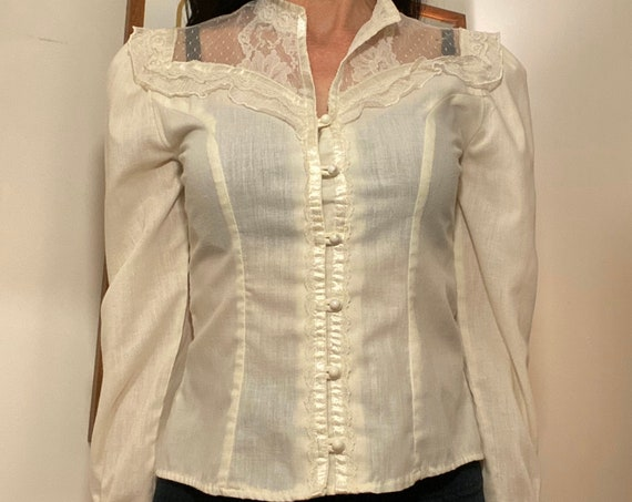 70s Victorian Ivory Cotton Blouse Size Small