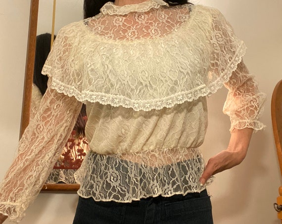 70s Ivory Lace Victorian Blouse