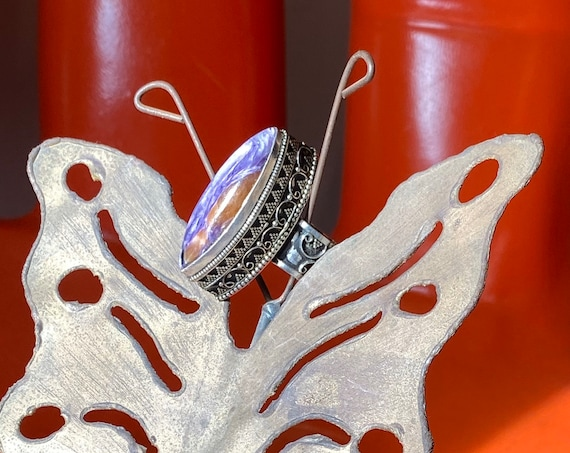 Rare 70s Amethyst and Citrine Silver Statement Ring Size 8.5