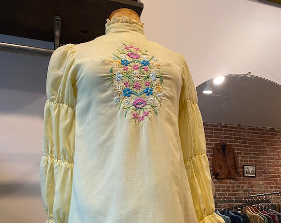 70s Cotton Sheer Baby Yellow Heavily Embroidered Long Sleeve Mini dress