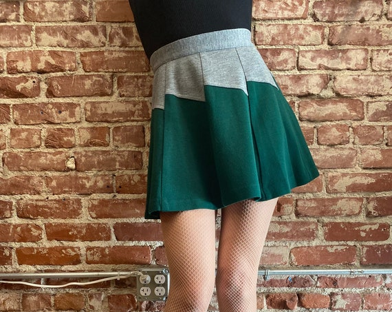 "70s Color Block Zig Zag Mini Skirt 26"" Waist"