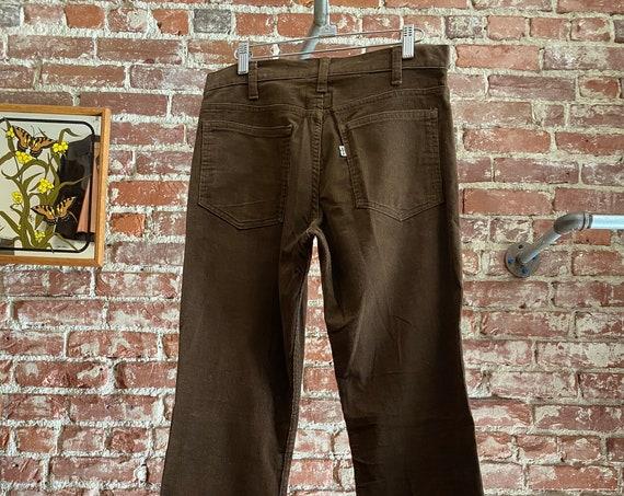 "70s Men's Levi's Brown Corduroy Strait Leg Jeans 31"" Waist by 32"" Inseam"