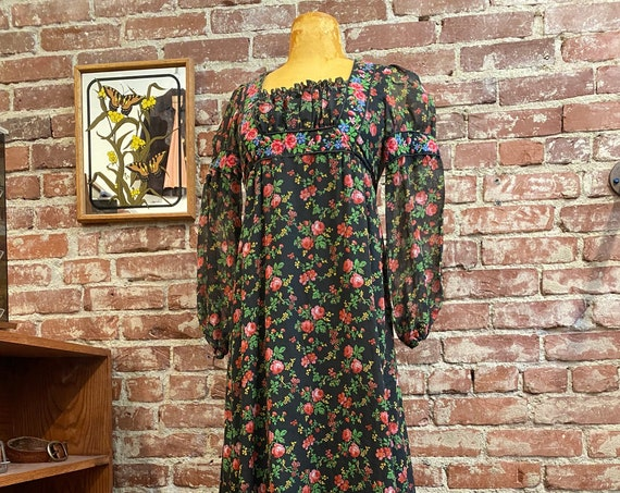 70s Cotton Black Floral Victorian Dress With Tapestry Details & Puff Sleeves by This is Yours San Francisco