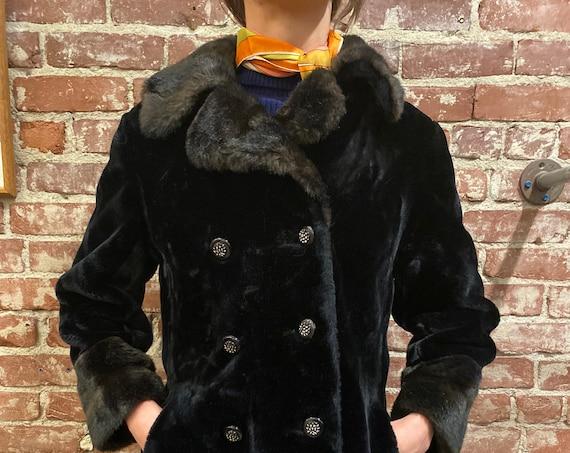 70s Two Toned Black Faux Fur Coat