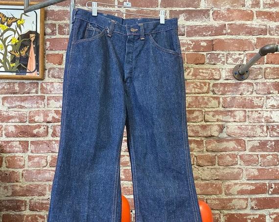 """70s Men's Dark Denim Jeans 31"""" Waist by 31"""" Inseam"""