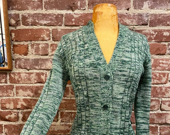 70s Space Dyed Green Cardigan