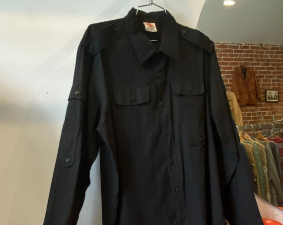 Mens 70s Black Cotton Button Down Shirt By Blow Up