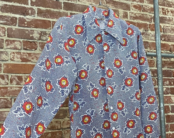 Mens 70s Rose Print Psychedelic Button Down Shirt with Dagger  Collar