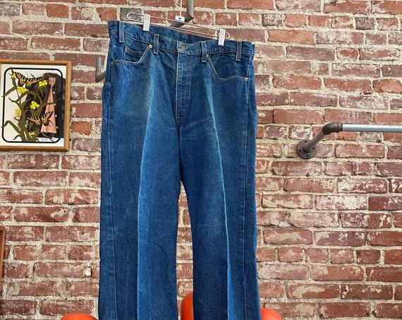 """70s Men's Levi's 505 Strait Leg Dark Denim Jeans 35"""" Waist by 32"""" Inseam"""