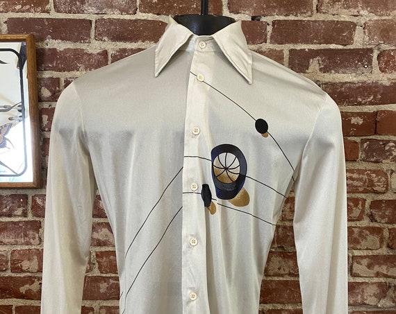 70s Men's Space Age Button Down Shirt