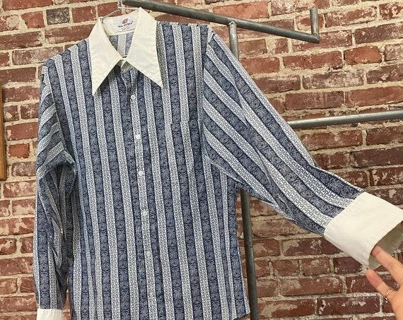 Mens 70s Dagger Collar Psychedelic Art Nouveau Striped Button Down Shirt
