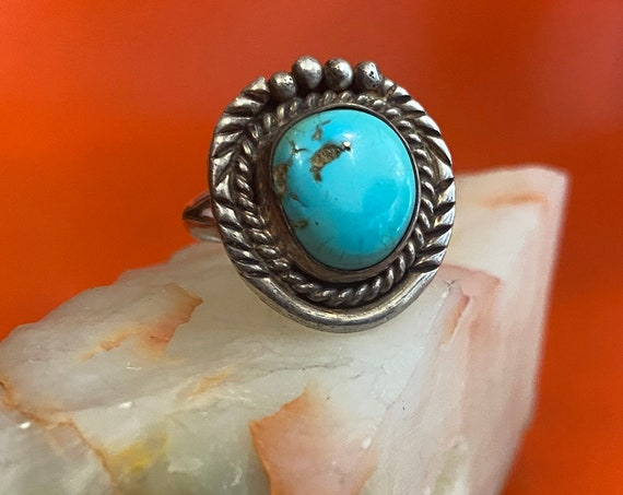 70s Turquoise and Sterling Silver Ring