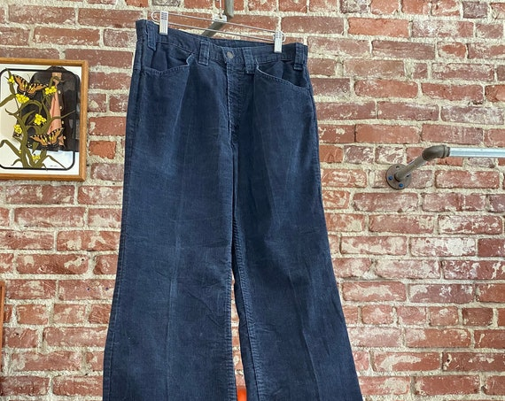 "70s Men's Levi's Dark Dusty Blue Corduroy Flared Jeans 31"" Waist by 31.5"" Inseam"