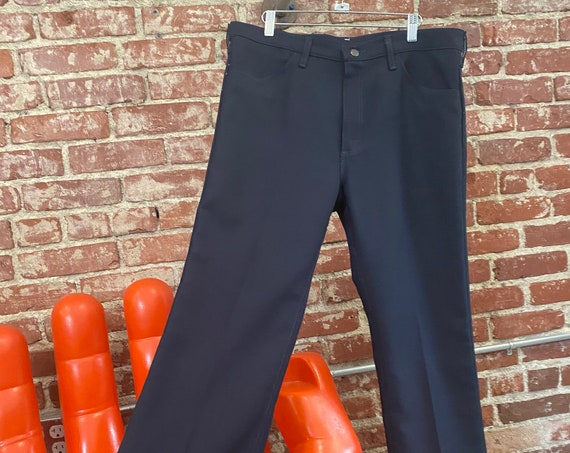 Mens 70s Navy Blue Wrangler Sta Prest Slacks