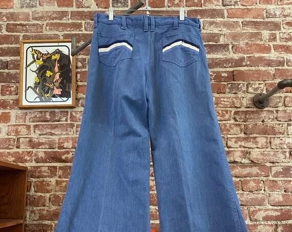 "70s Men's Lee Brushed Denim Flares with Chevron Pockets 32"" Waist by 29"" Inseam"