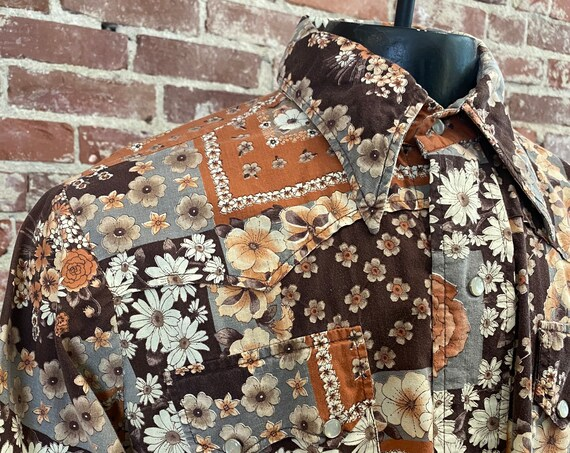 Mens 70s Psychedelic Flower Snap Button Western Shirt 100% Cotton By Bullocks